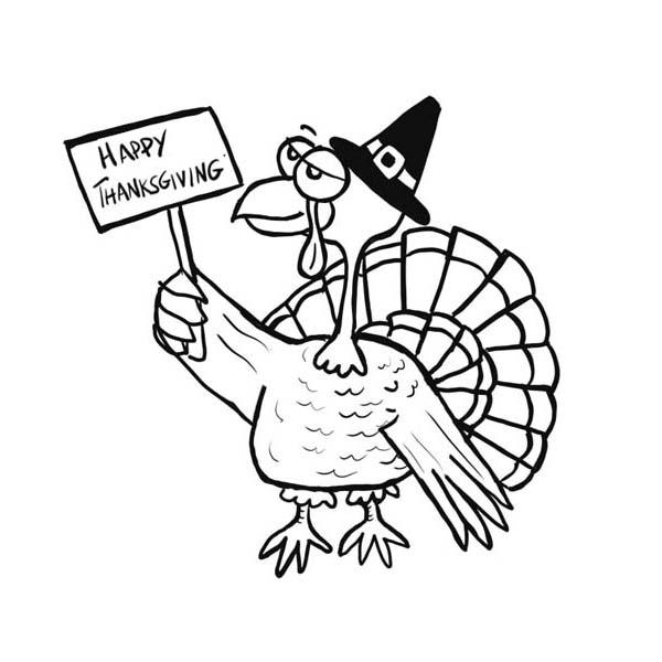 Canada Thanksgiving Day, : Old Turkey Says Joyful Canada Thanksgiving Day Coloring Page