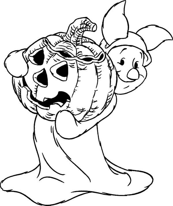 Halloween Day, : Piglet Holding Halloween Day Pumpkin Coloring Page