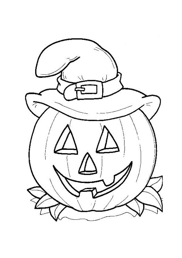 Halloween Day, : Smiling Jack O' Lantern with Witch Hat on Halloween Day Coloring Page