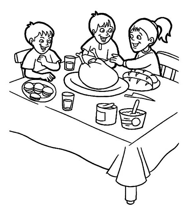 Canada Thanksgiving Day, : Three Childrens Doing Breakfast on Canada Thanksgiving Day Coloring Page