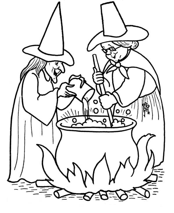 Halloween Day, : Two Witches Making Poison on Halloween Day Coloring Page
