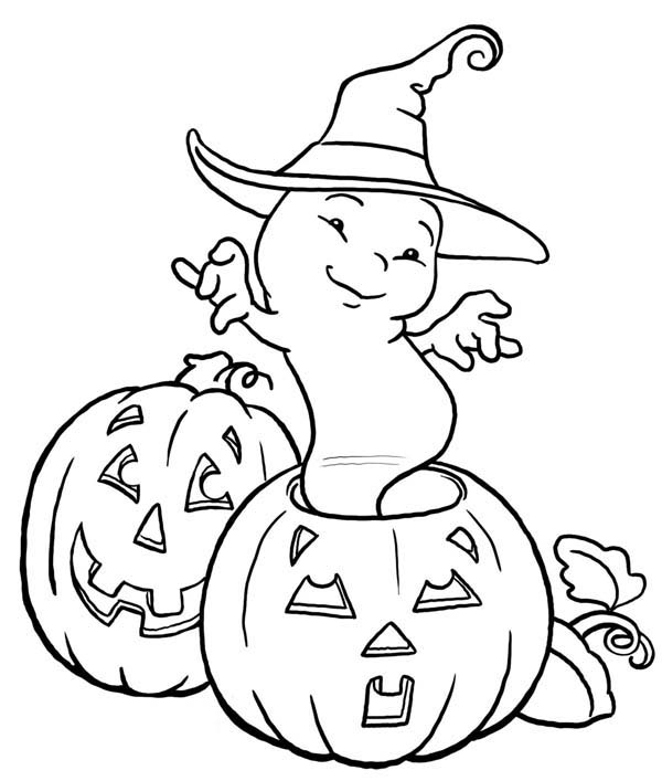 Halloween Day, : White Ghost Dancing on Halloween Day Coloring Page
