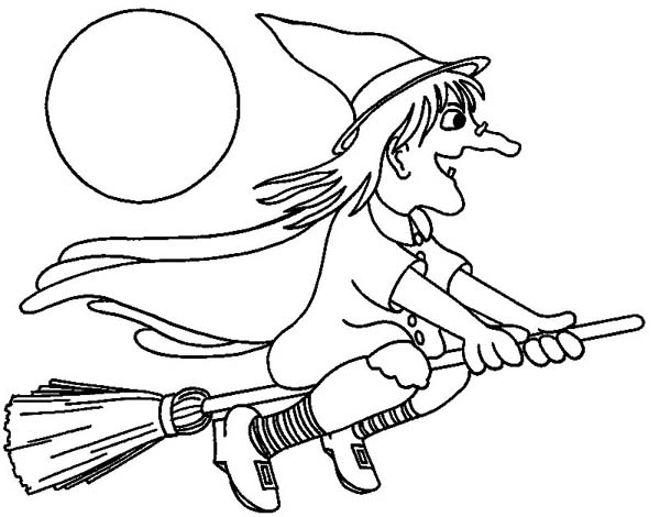 Halloween Day, : Witch Flying on Broomstick on Halloween Day Coloring Page