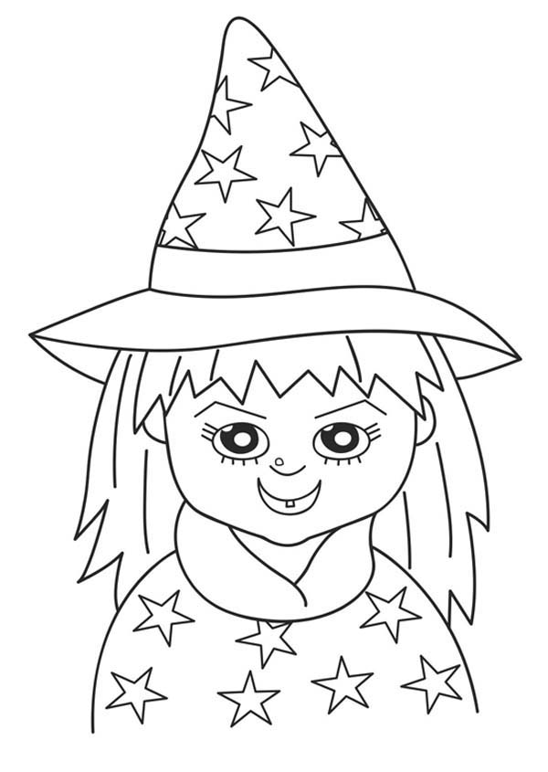 Halloween Day, : Young Girl on Witch Costume on Halloween Day Coloring Page