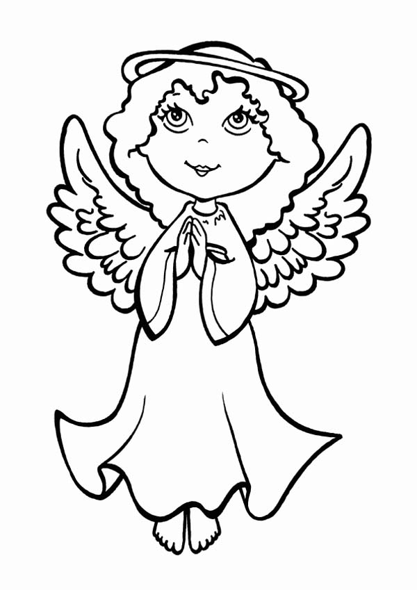 Christmas, : An Angel Making Pray on Christmas Eve on Christmas Coloring Page