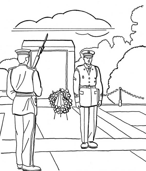 Veterans Day, : Celebrating National Veterans Day in Cemetery Ceremony Coloring Page