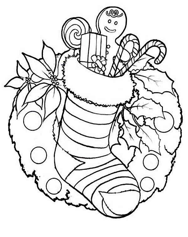 Christmas, : Christmas Stocking and Christmas Wreath for Ornament on Christmas Coloring Page