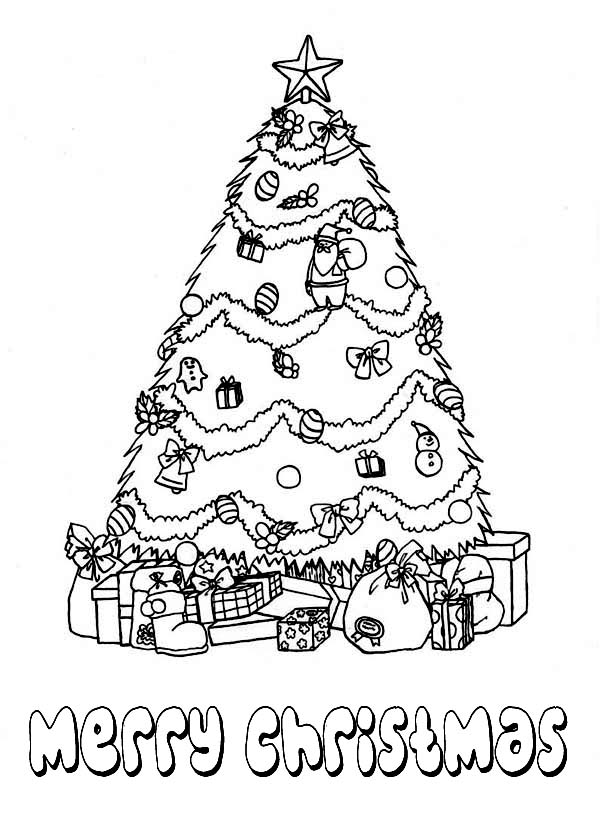 Christmas, : Gorgeous Christmas Tree with Bunch of Presents on Christmas Coloring Page