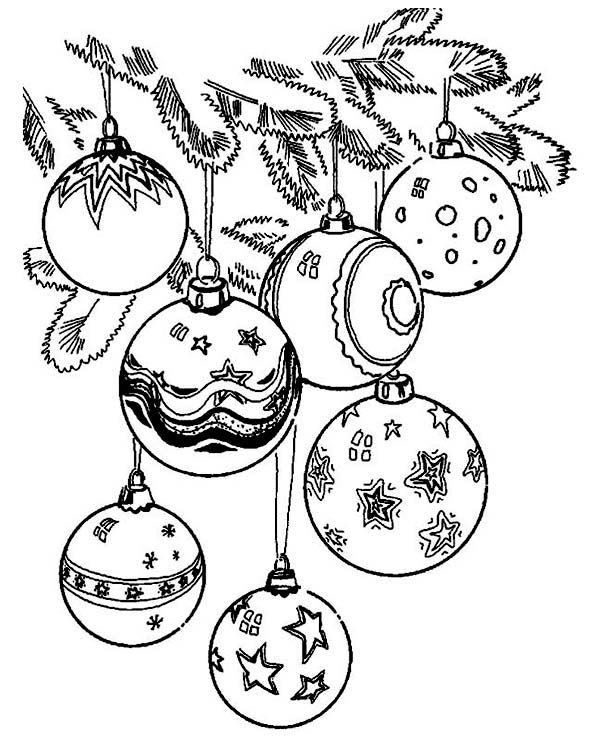 Christmas, : Gorgeous of Christmas Ball Ornaments on Christmas Coloring Page