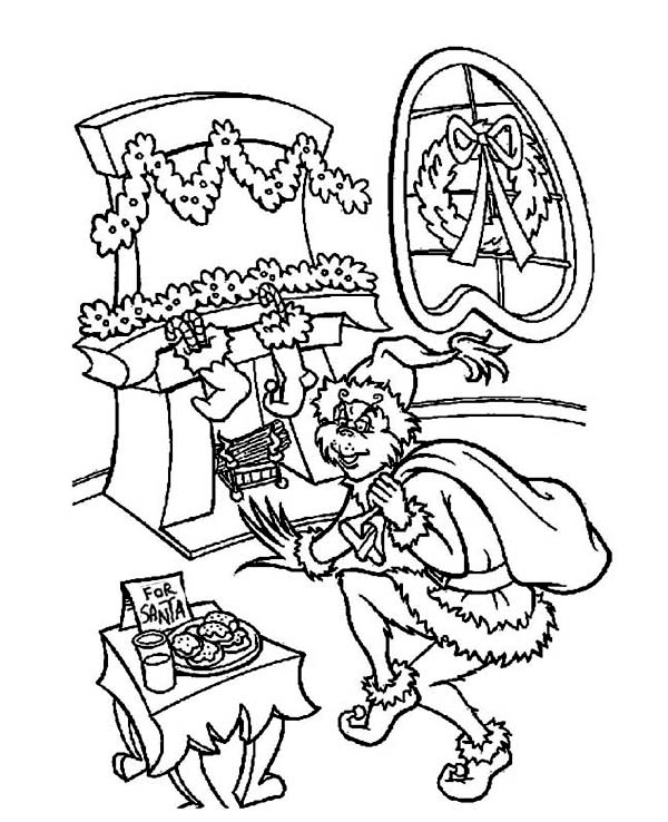 Christmas, : Grumpy Grinch Sneaking Out to Steal Christmas Presents on Christmas Coloring Page