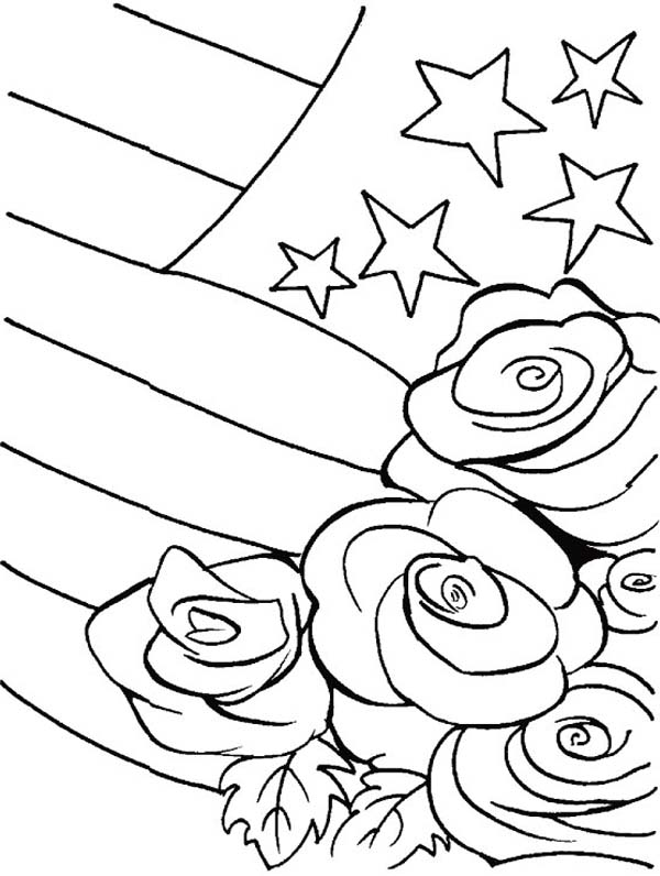 Veterans Day, : National Veterans Day Rose Bouquets Coloring Page