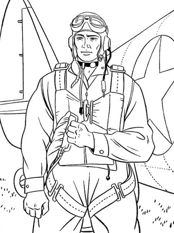 Veterans Day, : Paratrooper Soldier on Duty Celebrating Veterans Day Coloring Page