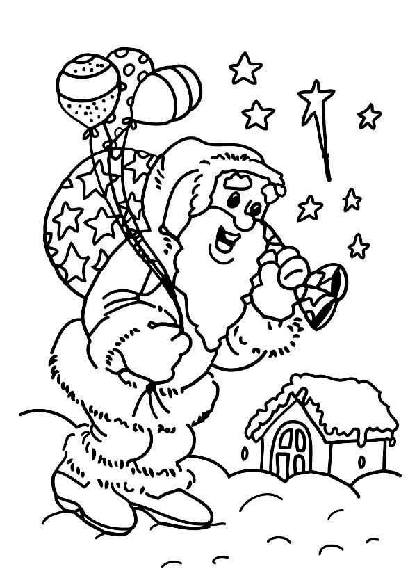 Christmas, : Santa Clauss Doing His Job on Christmas Eve on Christmas Coloring Page