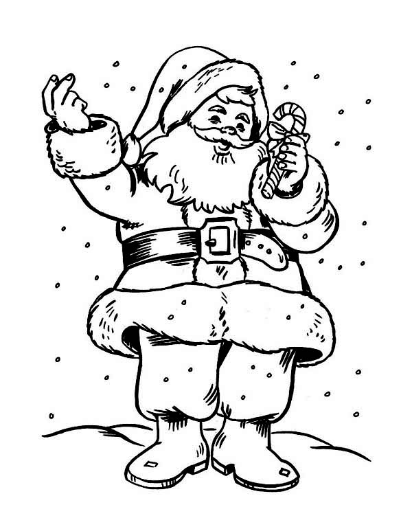 Christmas, : Santa Clauss Holding a Sweet Candy Cane on Christmas Coloring Page