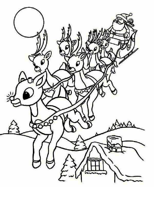 Christmas, : Santa Clauss Riding Christmas Sleigh on Christmas Eve on Christmas Coloring Page