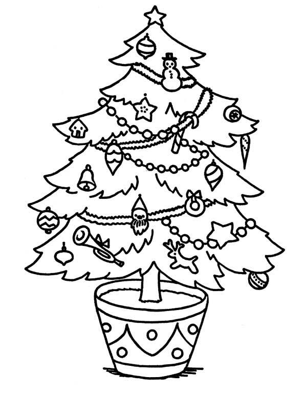 Christmas, : Sweet Christmas Tree on the Pot on Christmas Coloring Page