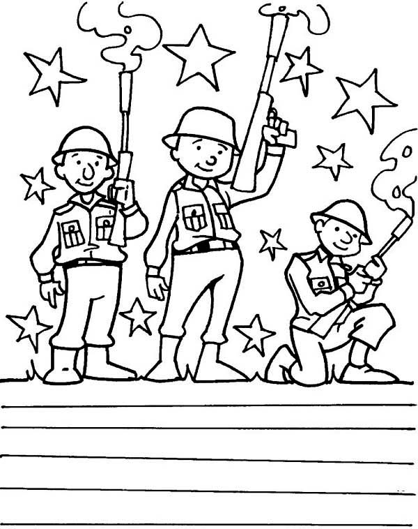 Veterans Day, : Three Soldiers with Smokey Rifles Celebrating Veterans Day Coloring Page