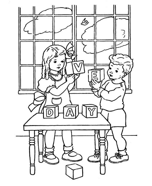 Veterans Day, : Two Kids Celebrating Veterans Day Wood Block Coloring Page