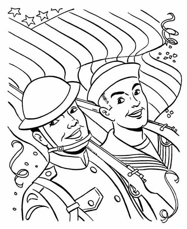Veterans Day, : Two Soldiers Celebrating Veterans Day with Parade Coloring Page