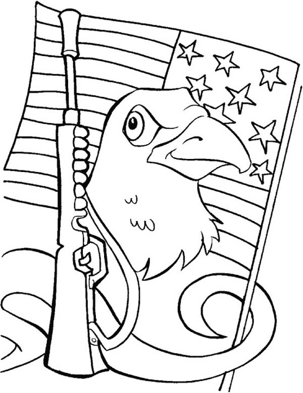 Veterans Day, : US Flag Rifles and Eagles Celebrating Veterans Day Coloring Page