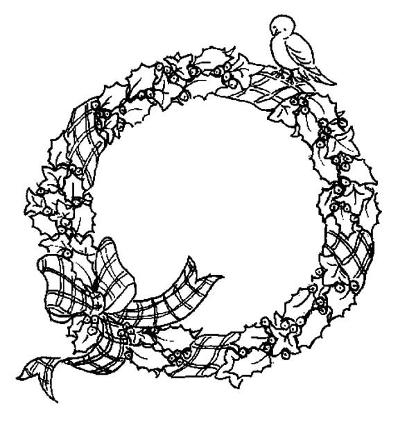 Christmas Wreaths, : A Little Bird Standing on Christmas Wreaths Coloring Pages