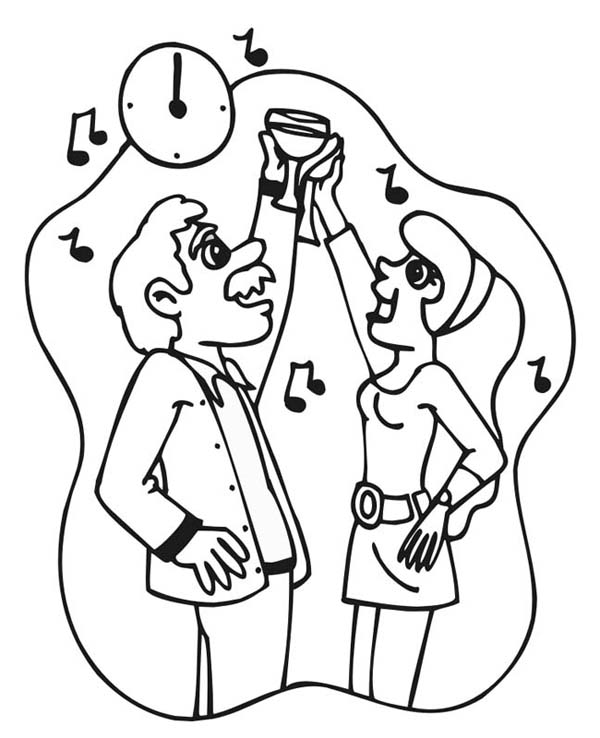 New Year, : A Toast and Countdown on 2015 New Year Coloring Page