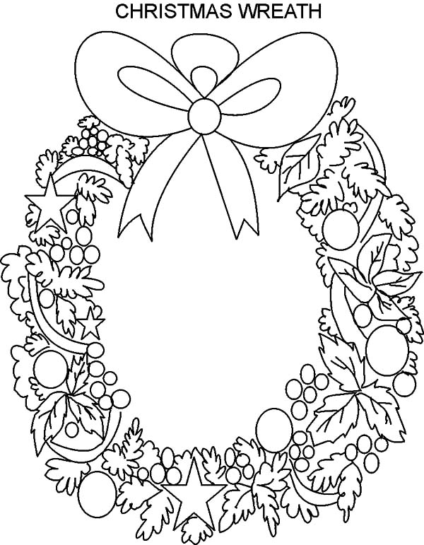 Christmas Wreaths, : Beautiful Christmas Wreaths Coloring Pages