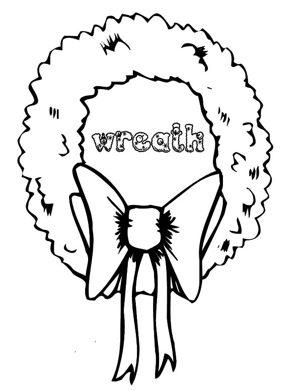 Christmas Wreaths, : Bow Tie Christmas Wreaths Coloring Pages