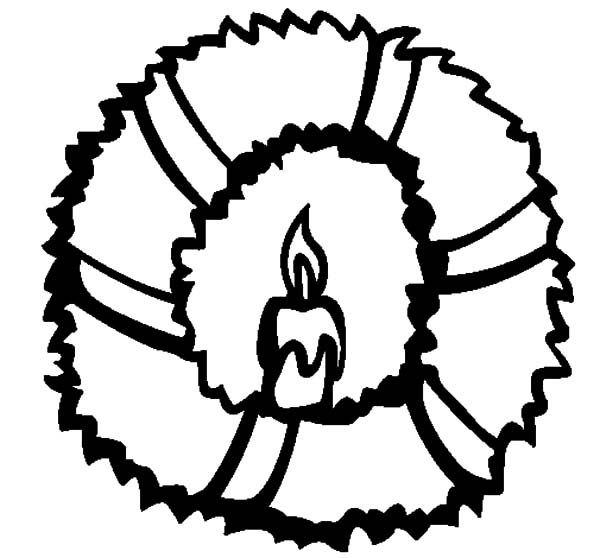 Christmas Wreaths, : Candle Light in Christmas Wreath Circle Coloring Pages