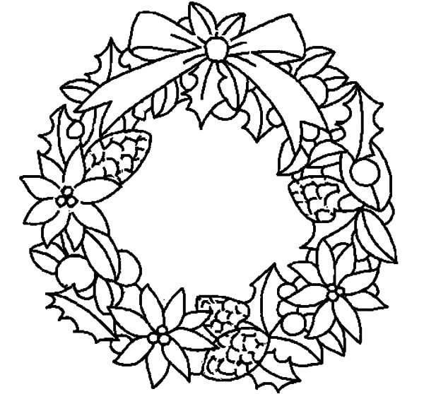 Christmas Wreaths, : Christmas Wreath Flowers Coloring Pages
