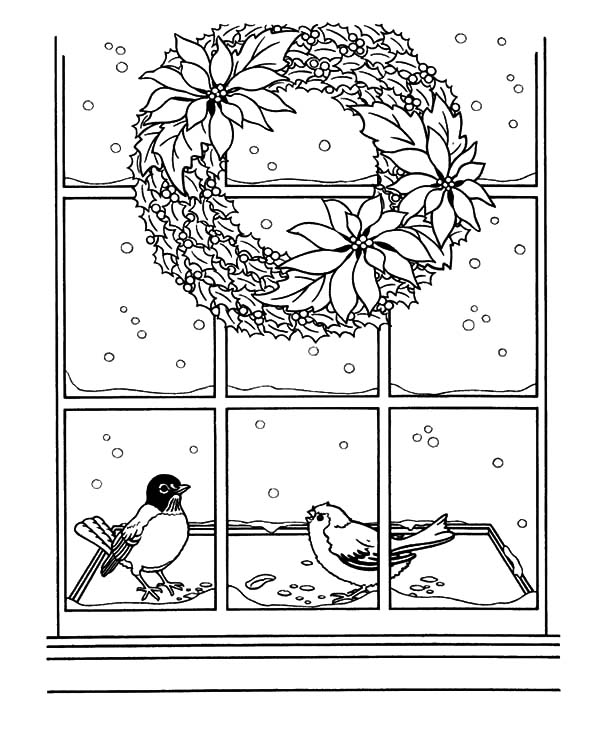 Christmas Wreaths, : Christmas Wreath Hanging on Window Coloring Pages