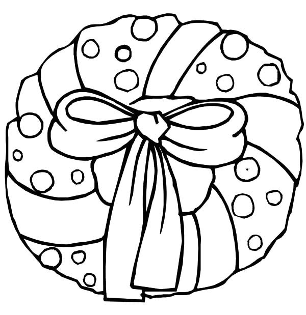 Christmas Wreaths, : Christmas Wreath with Bow Coloring Pages