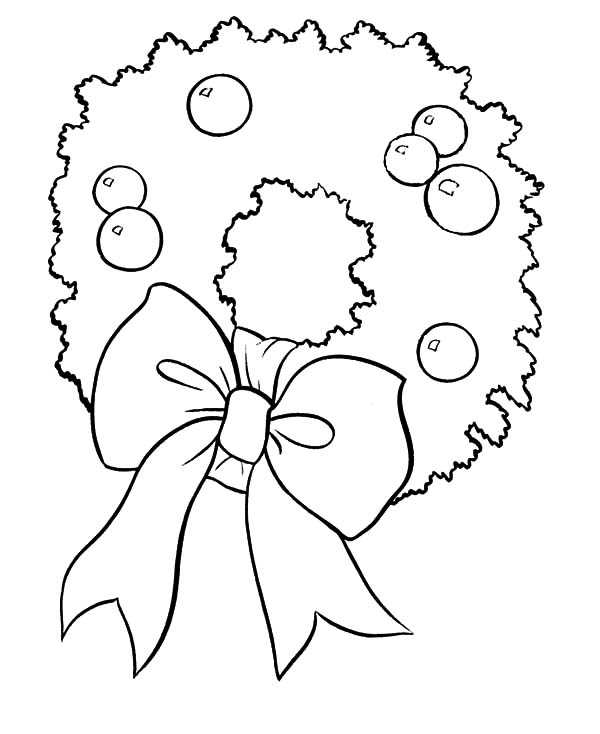 Christmas Wreaths, : Christmas Wreaths for Kindergarten Kids Coloring Pages