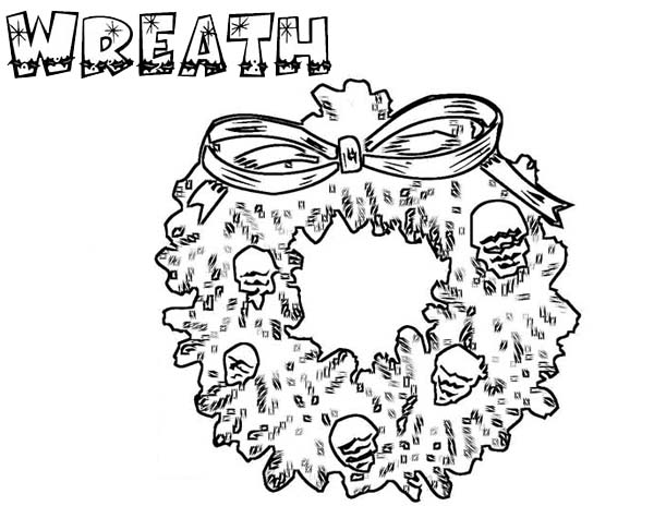 Christmas Wreaths, : Christmas Wreaths from Pine Fruit and Leaves Coloring Pages