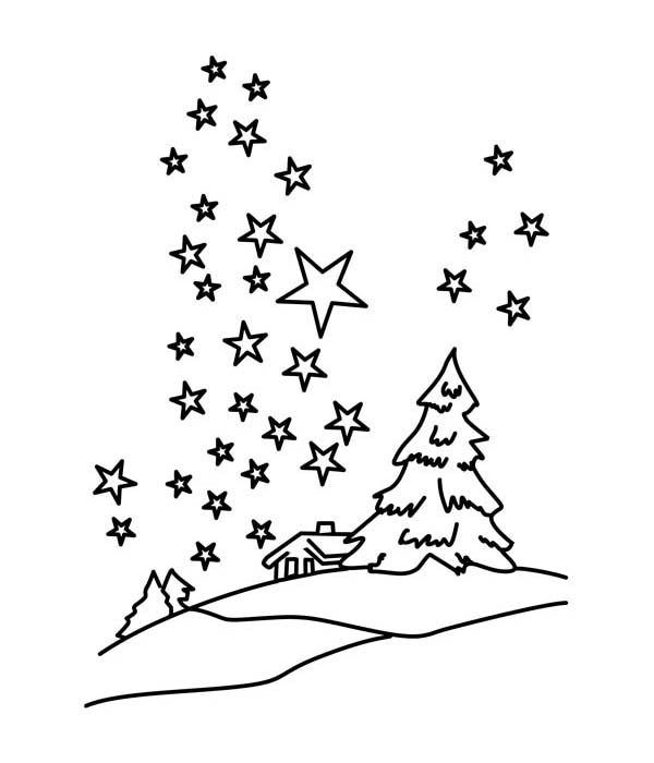 Mr Snowman On Christmas Touching A Snowflake Coloring Page: Clear Winter Season Night Sky With Million Of Stars