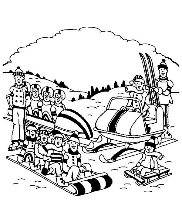 Winter Season, : Complete Winter Season Sports Team Coloring Page