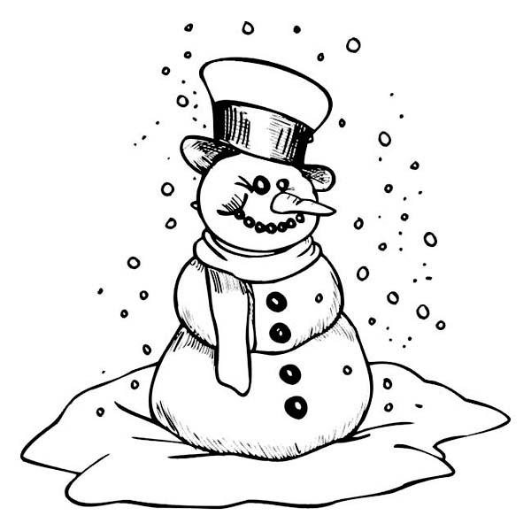 Winter Season, : Creepy Mr Snowman on Heavy Winter Season Snow Coloring Page