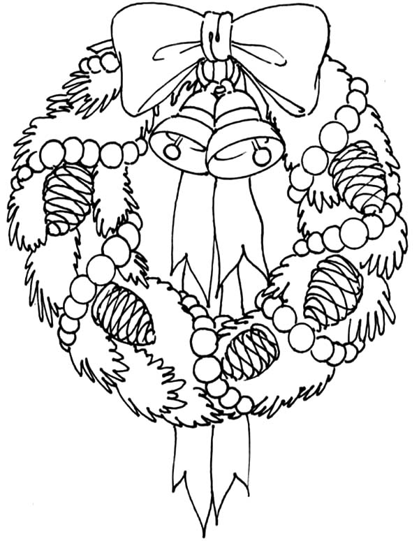 Christmas Wreaths, : Decorate Your House with Christmas Wreaths Coloring Pages