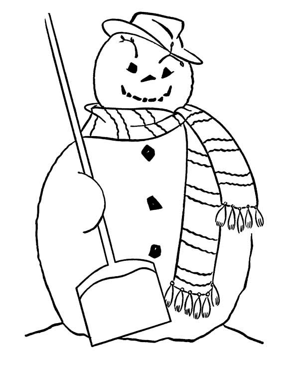 Winter Season, : Fat Mr Snowman with Broom and Long Scarf on Winter Season Coloring Page