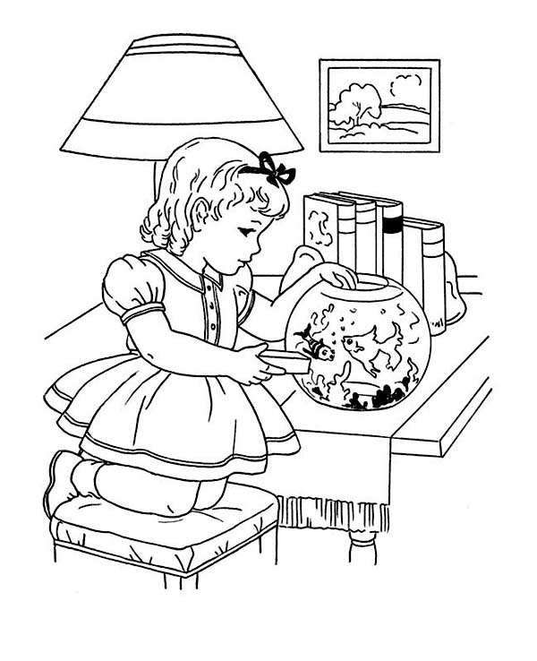 Winter Season, : Feeding Goldfish Winter Season Indoor Activities Coloring Page