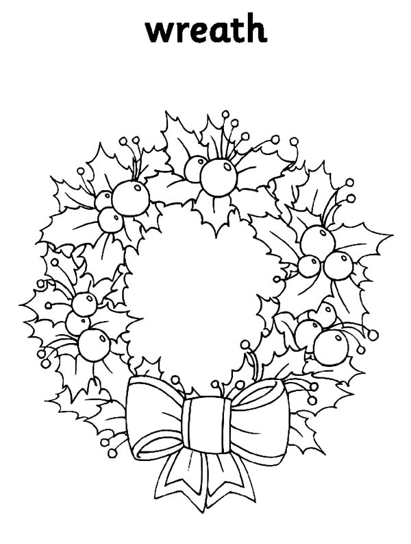 Christmas Wreaths, : Floral Decorative Christmas Wreaths Coloring Pages