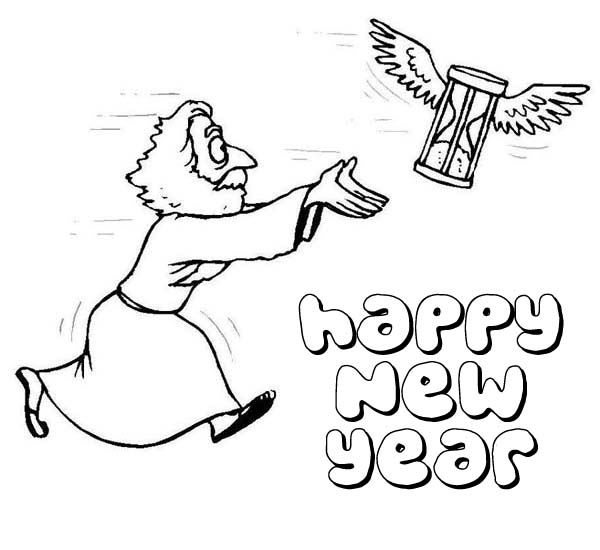 New Year, : Flying Hourglass and Father Time on 2015 New Year Coloring Page