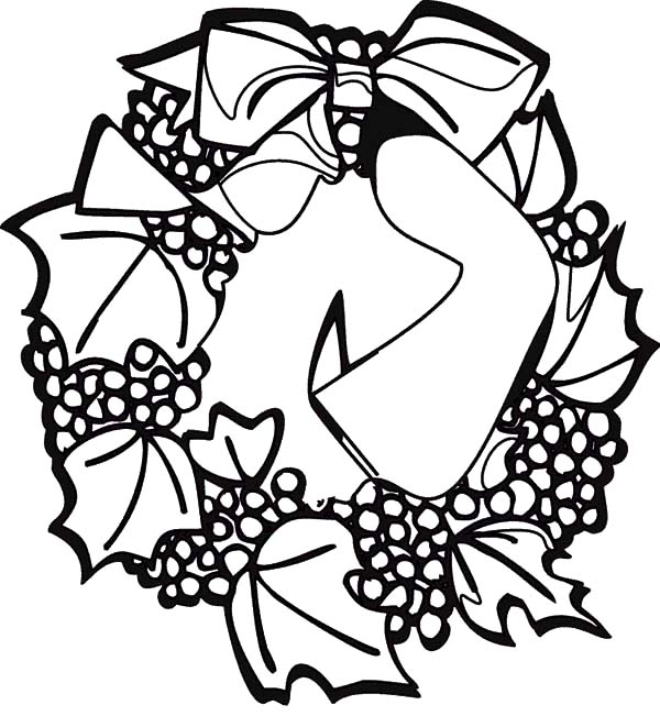 Christmas Wreaths, : Grape Fruit Christmas Wreaths Coloring Pages