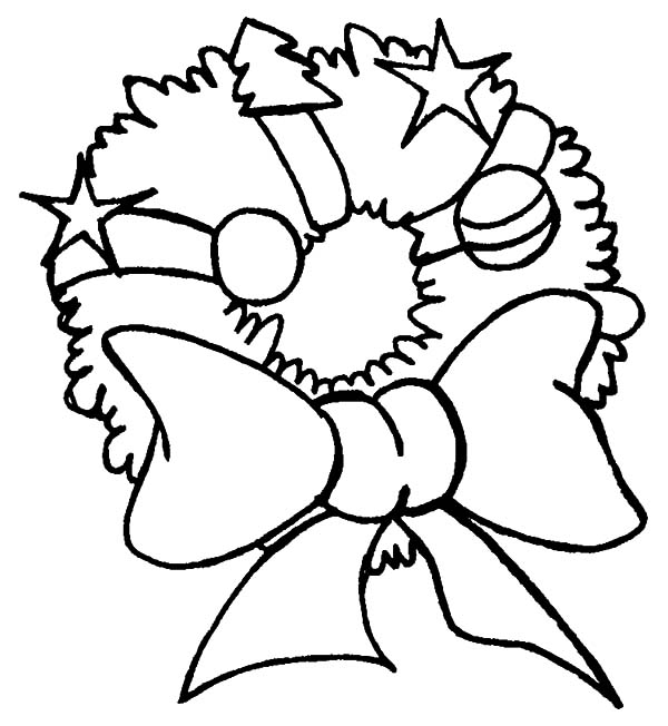 Christmas Wreaths, : Hanging Christmas Wreaths on Front Door Coloring Pages