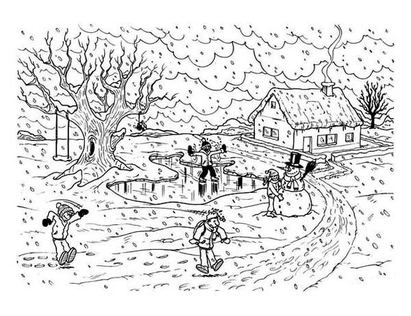 Winter Season, : Heavy Winter Season Scene Coloring Page