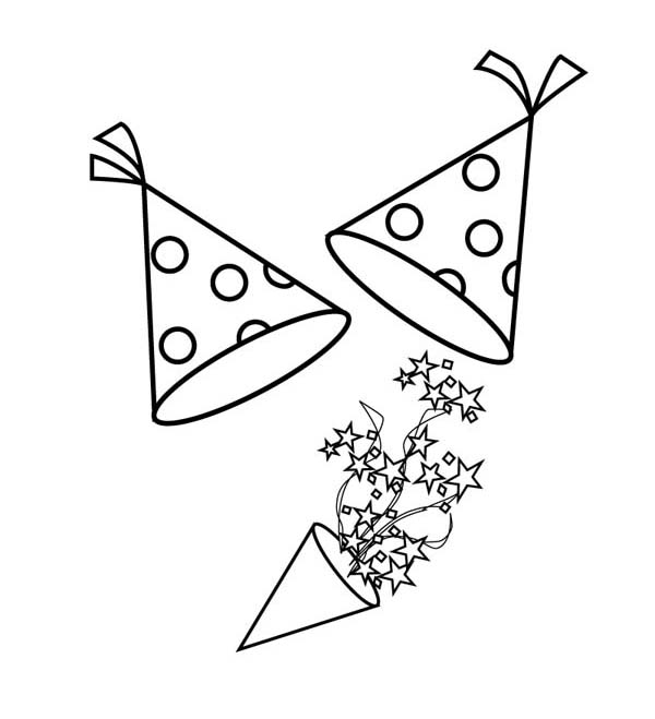 New Year, : Hilarious Blower and Hat for 2015 New Year Coloring Page