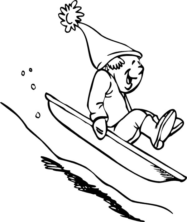 Winter Season, : Hilarious Man Slidding Down on Single Board During Winter Season Coloring Page