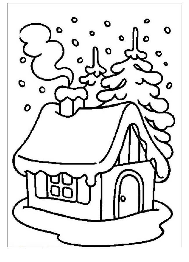 Winter Season, : House Covered by Snow During Winter Season Coloring Page