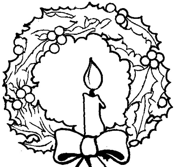 Christmas Wreaths, : Light of Candle Shine on Christmas Wreaths Coloring Pages