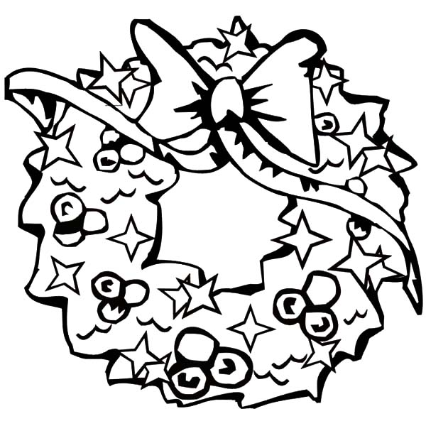 Christmas Wreaths, : Lovely Design of Christmas Wreaths Coloring Pages